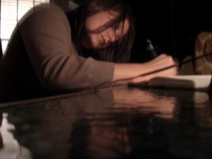 meredith writing in a journal